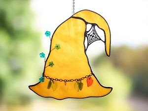 Witch Hat Halloween Stained Glass Decorations - Decor For Window Party Props