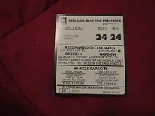 1975 CHEVROLET CAPRICE CONVERTIBLE TIRE PRESSURE SPECIFICATIONS DECAL