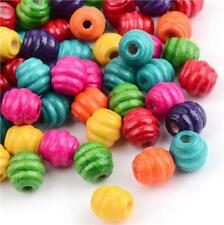 100 Wooden Beads 10mm Oval Barrel Ribbed Mix 3mm Hole
