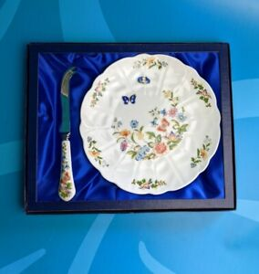 Vintage Aynsley Cottage Garden Cheese Knife and Plate in box