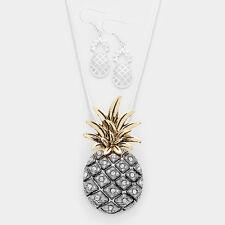 Pineapple Necklace Crystal Pave Stones Hawaii Welcome Fruit Food BURNISHED SLVR
