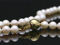 Wert: 760,- EUR Kette Japan Akoya Zucht Perlen 585 Gold Zertifikat ca. 44 cm