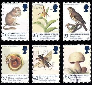 1998 Britain Endangered Species. Set of 6 USED #70c#