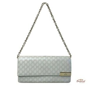 Authentic GUCCI Ivory Microguccissima Leather Wallet-Chain Clutch Bag 269541