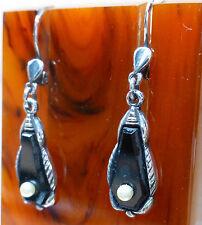 Art Deco Ohrringe aus Silber 800, schwarzer Stein Onyx, Perle, um 1920