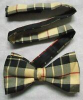 Bow Tie MENS SILK Dickie Bowtie Adjustable Cream Black Red Tartan Checked