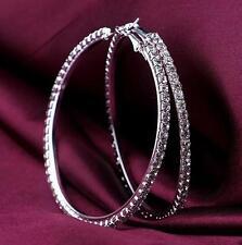 1 pair Big Earrings Circle Round Rhinestone silver white Hoop Clear Crystal