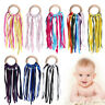 Rainbow Sensory Ribbon Link Ring Baby Molar Toy Shower Gift Girl Boy TeethPF