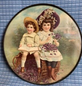FLUE COVER LOT #16 Victorian Boy & Girl sitting on Basket Book & Daisies Lilacs