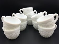 Vintage 1950s Milk Glass McKee Thatcher The Concord Punch Cups Set of 11