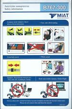 Safety Card - MIAT Mongolian Airlines - B767 300 - c2011 (S3985)