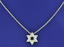 14k Solid White gold Natural Diamond Star of David necklace pendant 0.09 ct