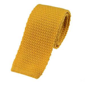 Men's Plain Mustard Wool Knitted Tie (U102/31)