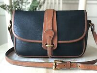 Vtg DOONEY & BOURKE AWL Equestrian Navy Blue Leather Crossbody Messenger Purse