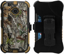 AUTUMN LEAF TREE CAMO TRI-SHIELD CASE BELT CLIP HOLSTER STAND FOR MOTO E 2nd GEN