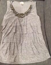 MINT NWOT LAVISH Beaded Gray Sleeveless Top Ruffles Sequins Medium