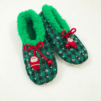 NWT Snoozies Green Plaid Bells Slippers Non Skid US Size M 7/8