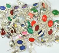Druzy Wholesale lot Mix Stone 925 sterling silver overlay 100 pair Earrings MJ16