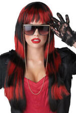 Long Untamed Layered Wigs Pink Red White Ladies Fancy Dress Costume Accessories
