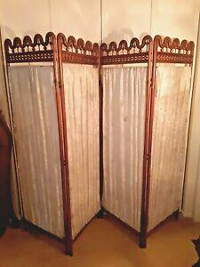 Victorian Stick & Ball Oak 4 Section Dressing Room Divider Screen (Ornate)