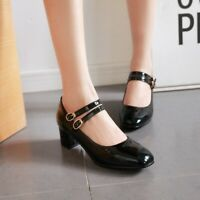 Womens Mary Jane Shoes Patent Leather Block Heel Square Toe Ankle Buckle Pumps