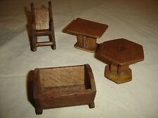 Antique Hand Made Child's Doll Furniture  Baby Cradle 9800