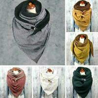 Women Mens Winter Warm Head Neck Scarf Wrap Scarves Stole with Shawl Button G2D7