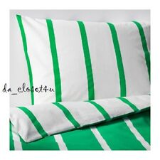 IKEA Duvet Single Quilt Cover w/ Pillowcase Green White Striped Tuvbracka TWIN
