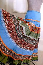 Fab ZARA Gypsy Hippie Boho Folk Patchwork Tiered Skirt Floral Paisley Lace Sz L