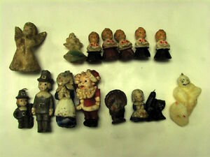 COLLECTION OF 15 VINTAGE HOLIDAY CANDLES, BLACK CAT, SANTA, GHOST, CHOIR SINGERS