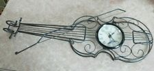 "24"" Metal Sculpture Violin Wall Clock, Paris. Works. 3-D With Bow. Music Clock"