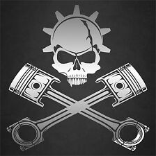 "12"" x 12"" Chrome Gear Head Skull And Pistons Gearhead Car Motors Engine Mechanic"