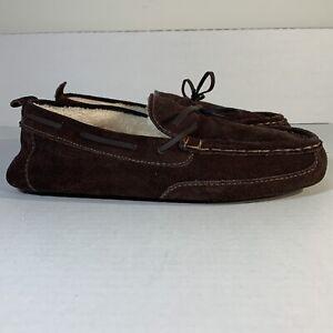 Eddie Bauer Justin Men's Suede Slippers Moccasins Dark Brown Size 8-9