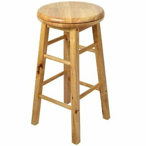 Bar Stool Wooden Revolving Light Brown Solid Rubberwood Kitchen Breakfast Chair