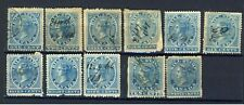 11x Canada Bill Stamps; 1st iss FB1 to 11 Used A few faulty Cat. Value= $140.00