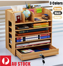 DIY Office Desktop Wooden File Holder Pen Organiser Case Storage Drawer GIFT