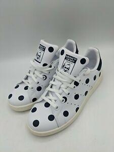 Adidas Leather Stan Smith Polka Dot Shoes Sneaker White/Black 4.5