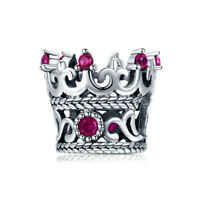 Authentic 925 Sterling Silver Noble Splendor Crown CZ Charm Bead Fits Bracelet
