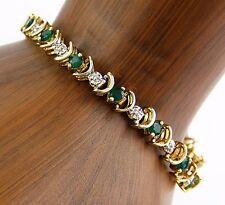 "Women's 2.25 ct Emerald & Diamond Tennis Bracelet in 10k Solid Yellow Gold 7.65"""