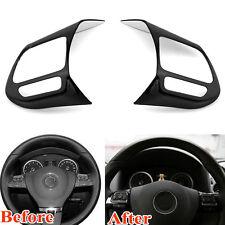 2pcs Black Stainless Steel Steering Wheel Decor Cover Trim For Tiguan 2010-2015