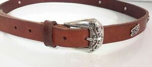 Vintage Fossil Women's Brown Leather Belt Silver Buckle Inlays Size L