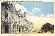 Havana Cuba 1920s Postcard Opera House Inglaterra Hotel