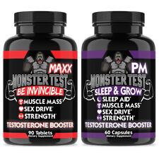 Testosterone Booster Monster Test Maxx for Men + Monster Test Pm Sleep Aid 2PK