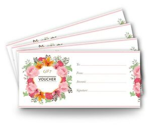 12 x Blank Gift Certificates Vouchers DL Envelope Size High Quality Card Vintage