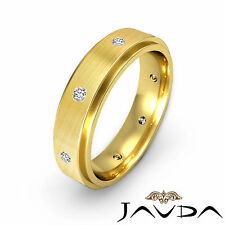 Bezel Round Diamond Mens Eternity Wedding Step Edge Band 14k Yellow Gold 0.16Ct