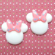 "US SELLER 10 x 1.25"" Resin Mouse Flatback/Cabochon w/Bow for Mickey/Minnie SB552"