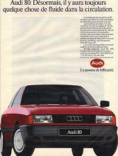 PUBLICITE ADVERTISING  1987    AUDI 80  1.8 S  le  confort