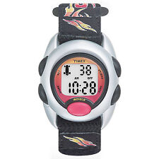 Timex T78751, Kid's Digital, Flames Fabric Wrapstrap Watch, Indiglo, T787519J