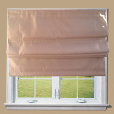 Cream / Biscuit Faux Silk Blackout Lined Roman Blind + Fittings