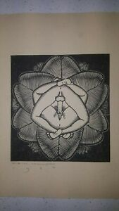 "Original E.M.Washington ""Deflowered"" Erotica woodcut"